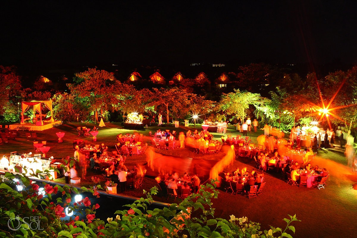 Hindu wedding reception set up night zen garden Grand Velas Resort, Riviera Maya, Mexico