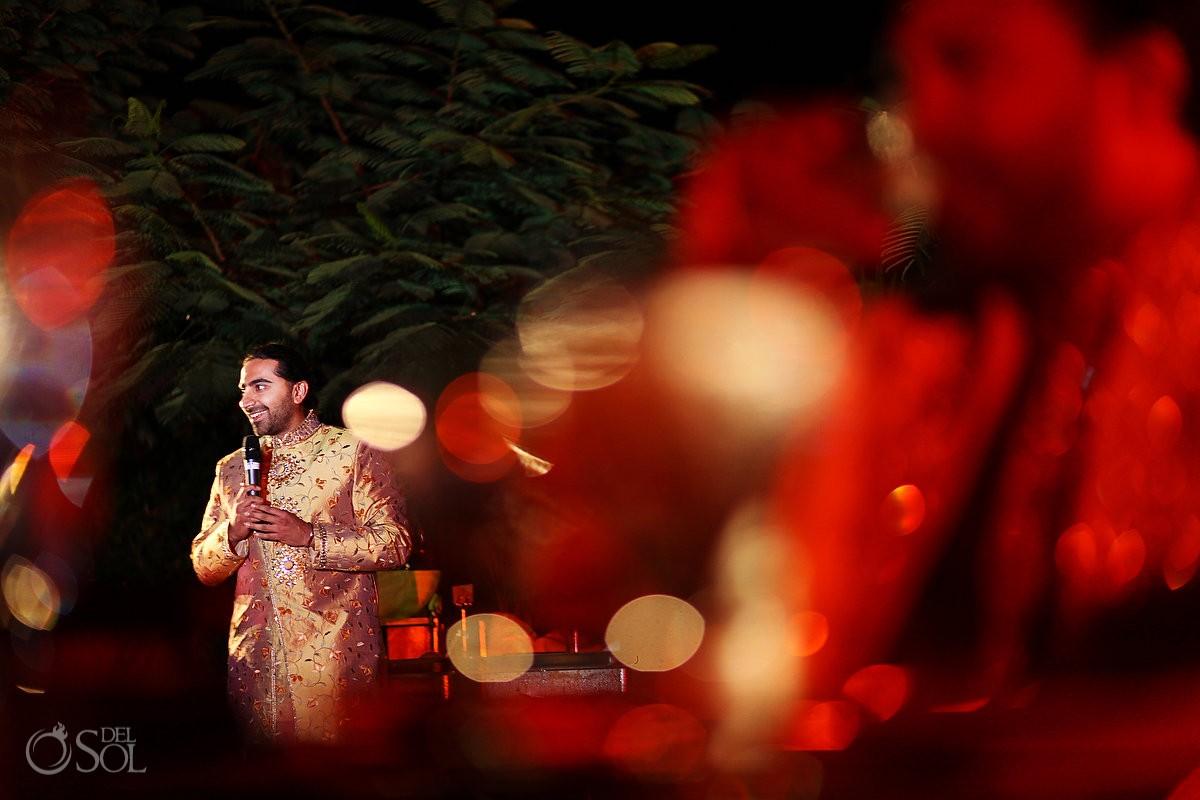 Hindu wedding reception speeches zen garden Grand Velas Resort, Riviera Maya, Mexico