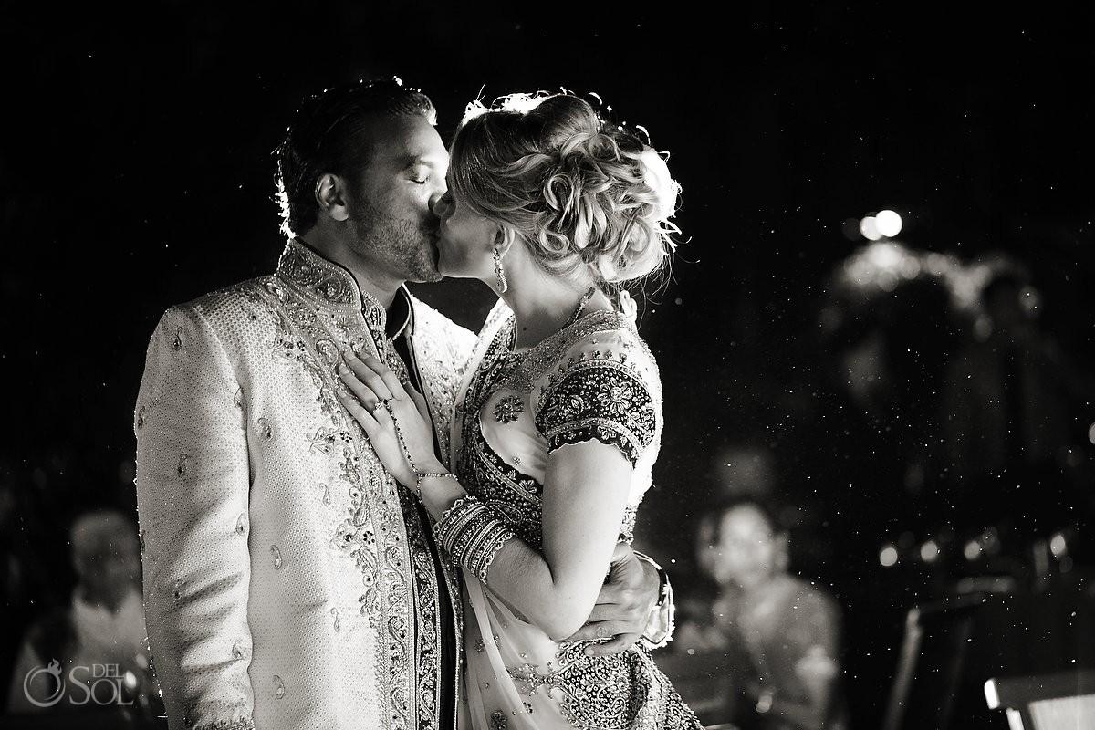Hindu wedding reception bride groom black white kiss, Zen garden, Grand Velas Resort, Riviera Maya, Mexico