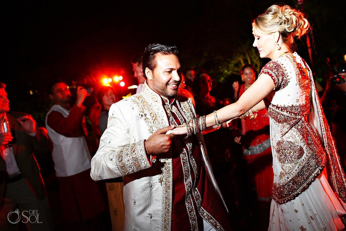 Hindu wedding reception bride groom dance, Zen garden, Grand Velas Resort, Riviera Maya, Mexico