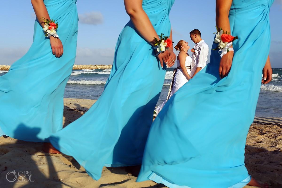 Wedding on the beach in Mexico bridesmaids bride groom