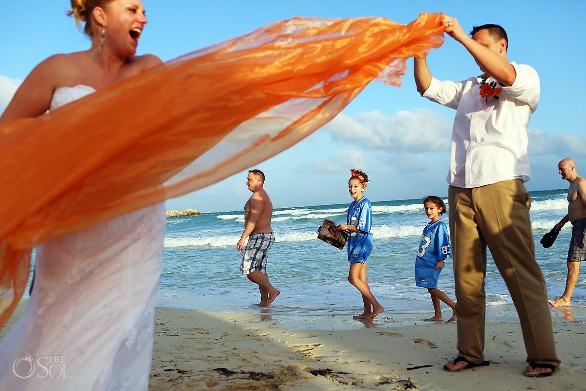 Beach wedding in Mexico newlyweds