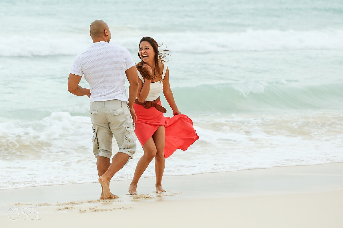 Engagement portrait beach Playa del Carmen