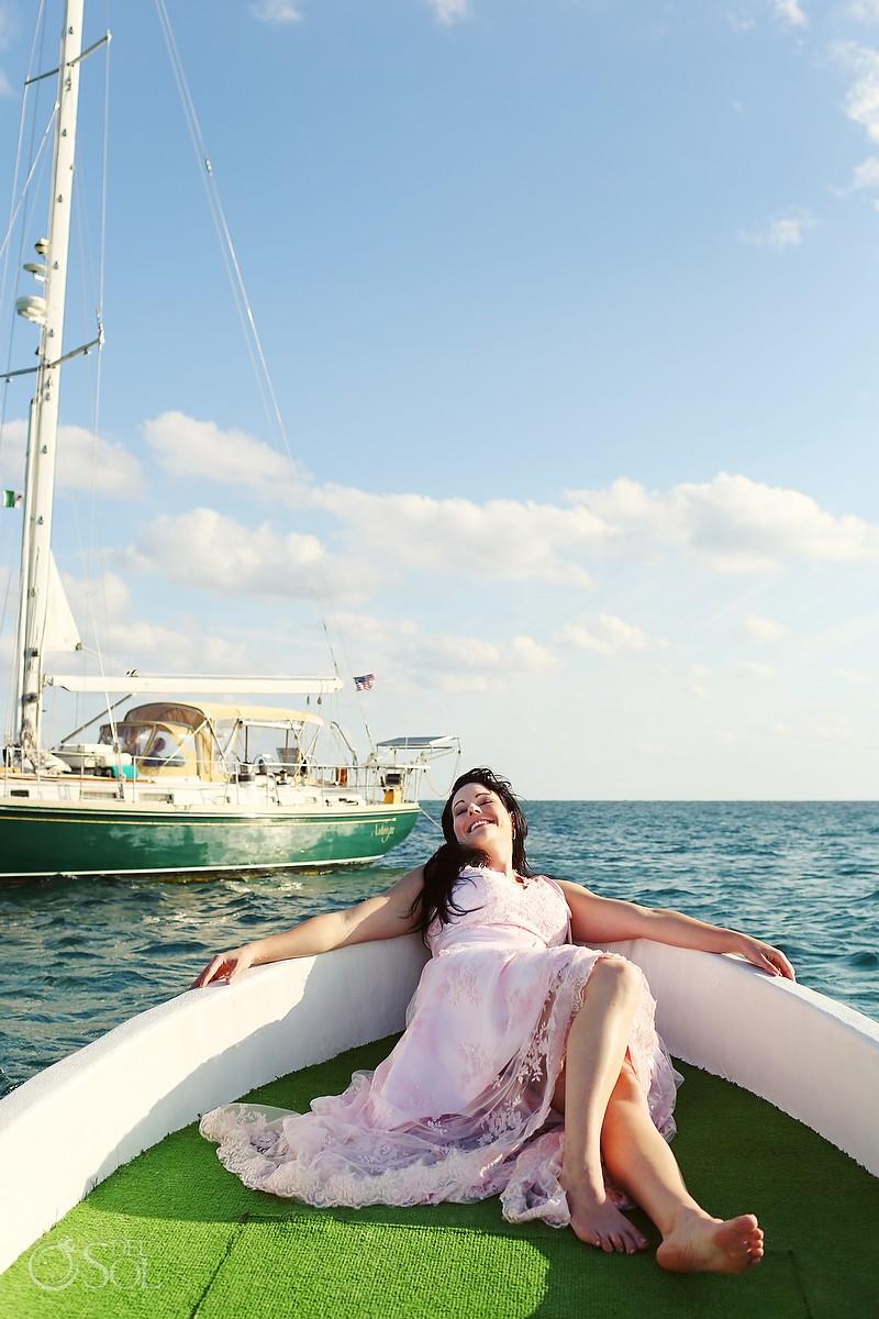 Bride on a boat in Puerto Morelos
