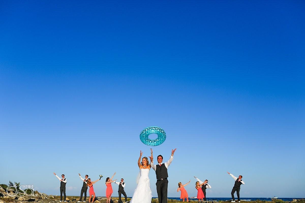 Mexico beach wedding party bride groom blue sky