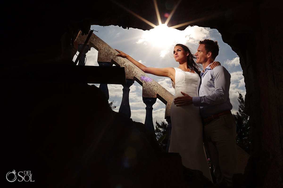 Trash the dress in cave bride and groom with sunshine