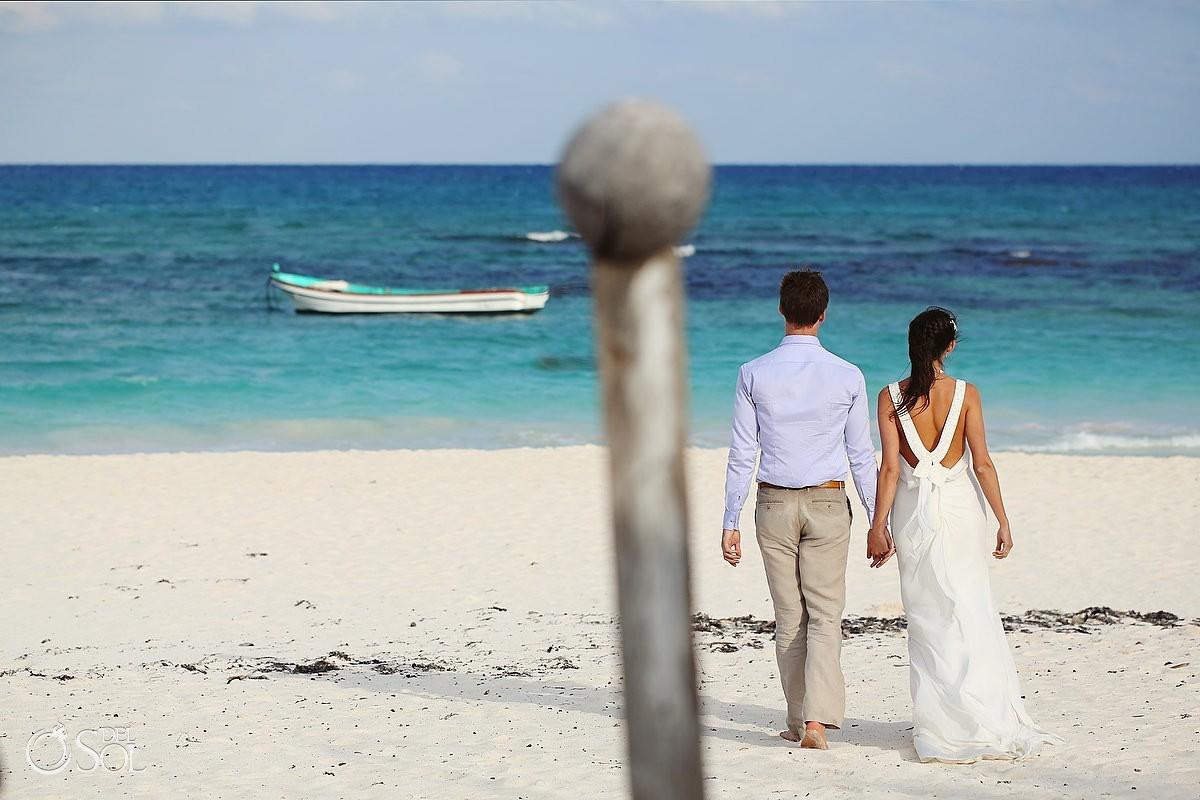 Riviera Maya beach trash the dress shoot in Mexico bride and groom