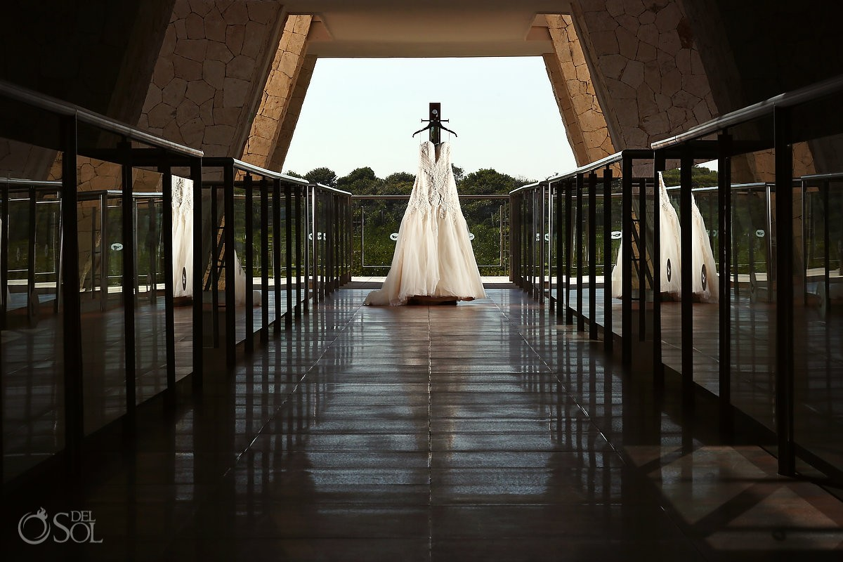 Riviera Maya wedding dress hanging