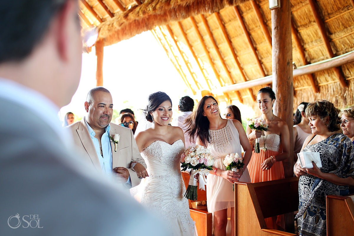 Riviera Maya bride coming down the aisle