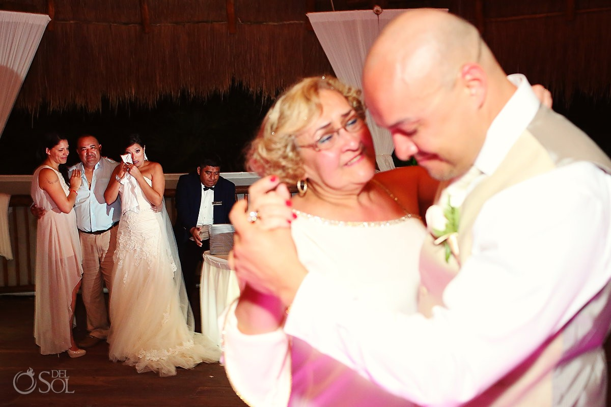 Dancing and bride crying at Riviera Maya wedding reception
