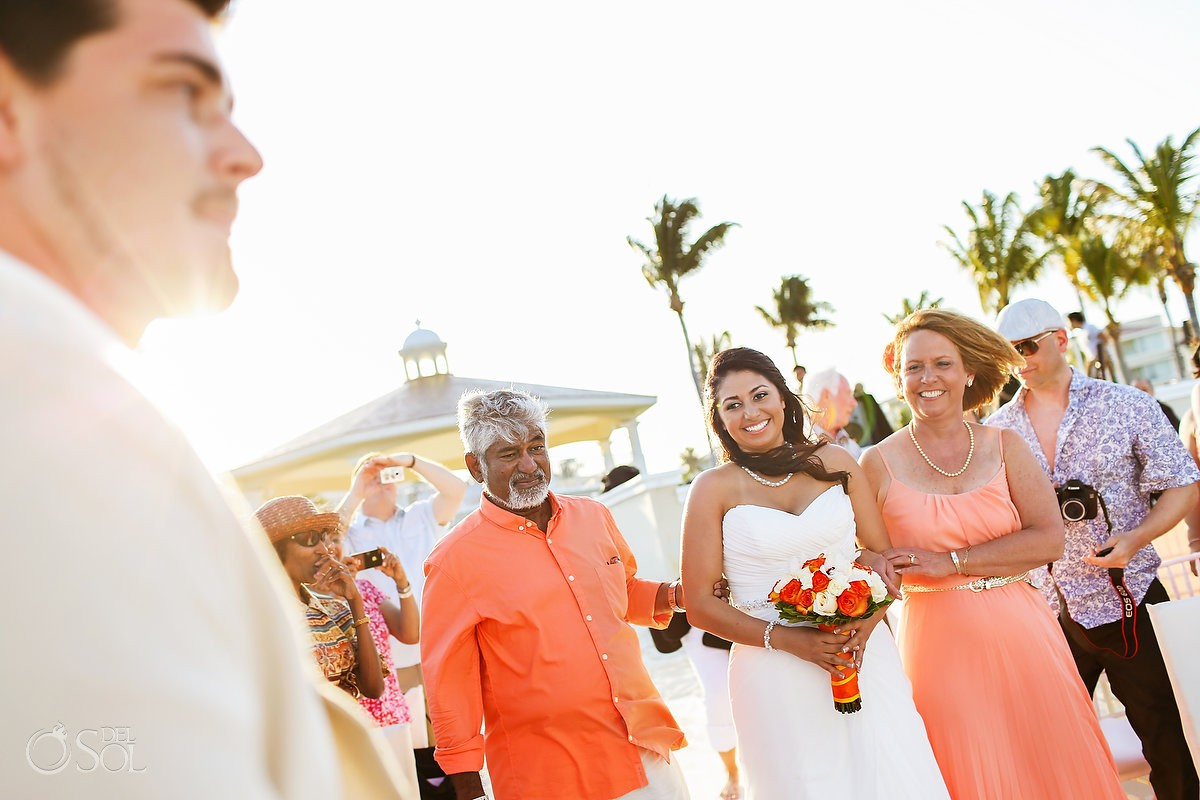 Cancun wedding father giving away bride