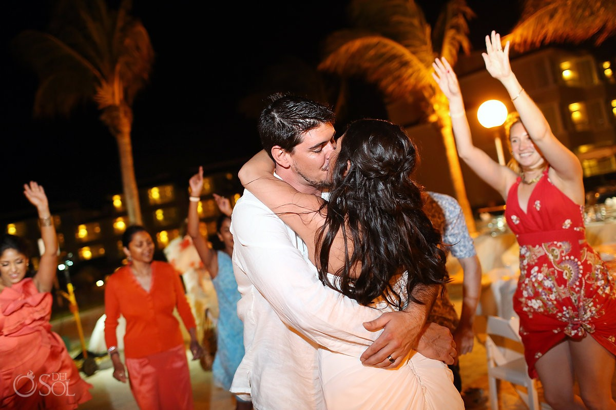 Cancun wedding Moon Palace Resort kiss bride groom