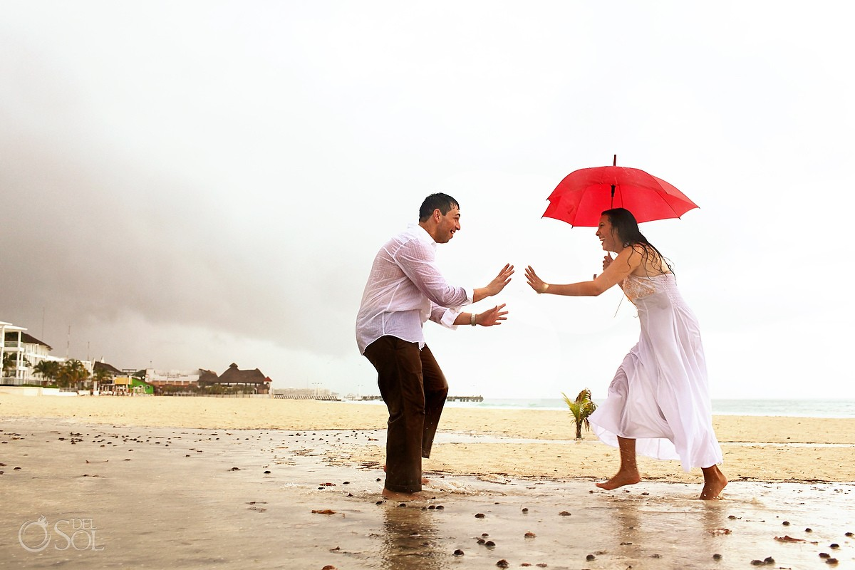 Hurricane Rina beach Playa del Carmen engagement photos