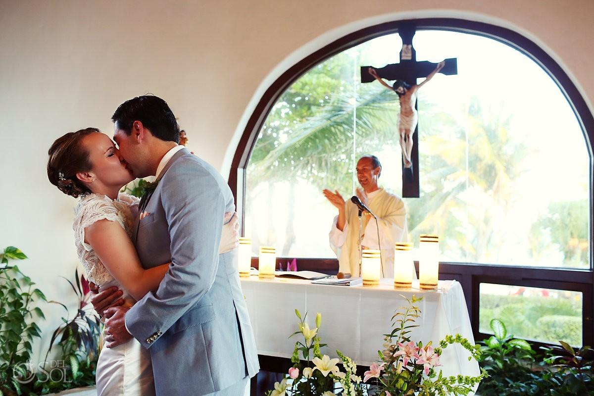 Playa del Carmen bride and groom kiss