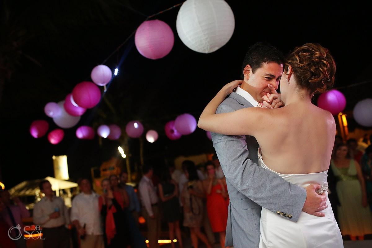 Wedding reception Kool Beach Club Playa del Carmen bridal dance
