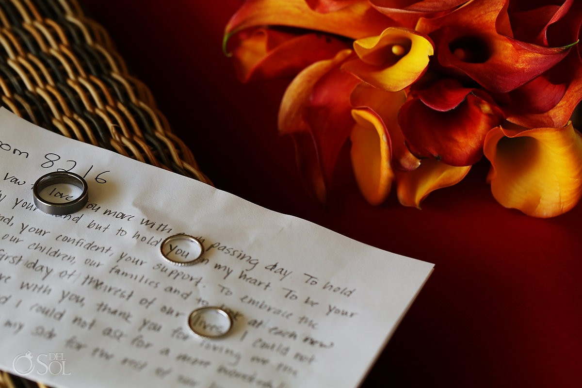Wedding rings and vows on paper