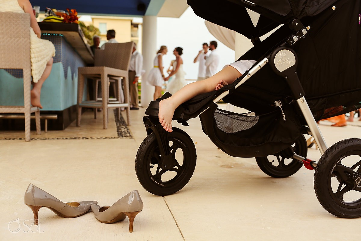Stroller sleeping child wedding