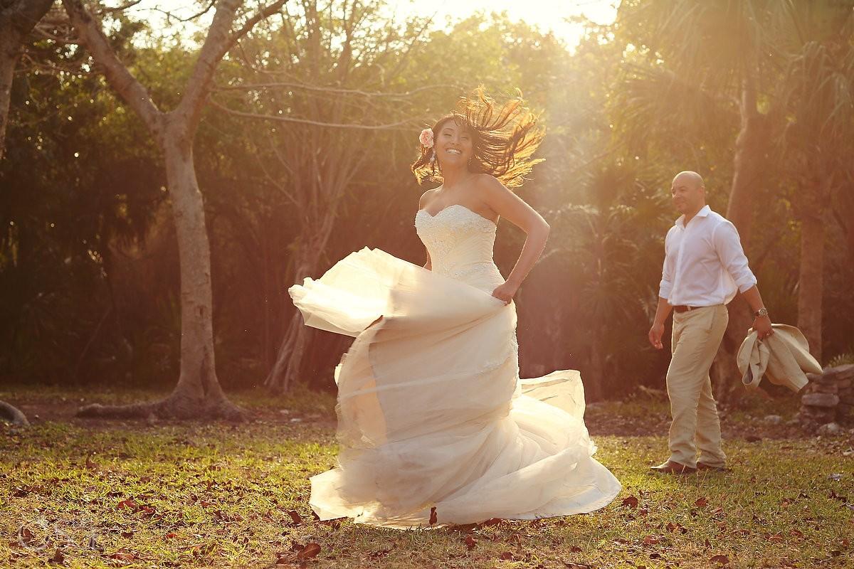 Playa del Carmen happy bride and groom