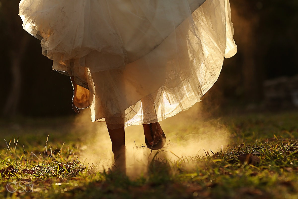Sandal bride running
