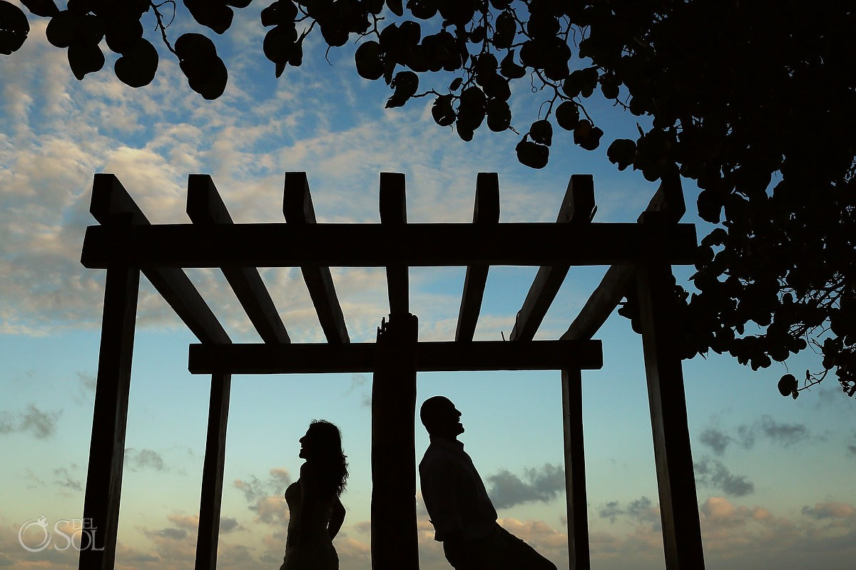 Playa del Carmen newlyweds silhouette trash the dress