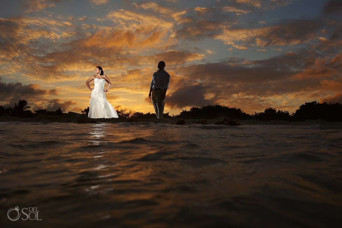 Riviera Maya sunset trash the dress