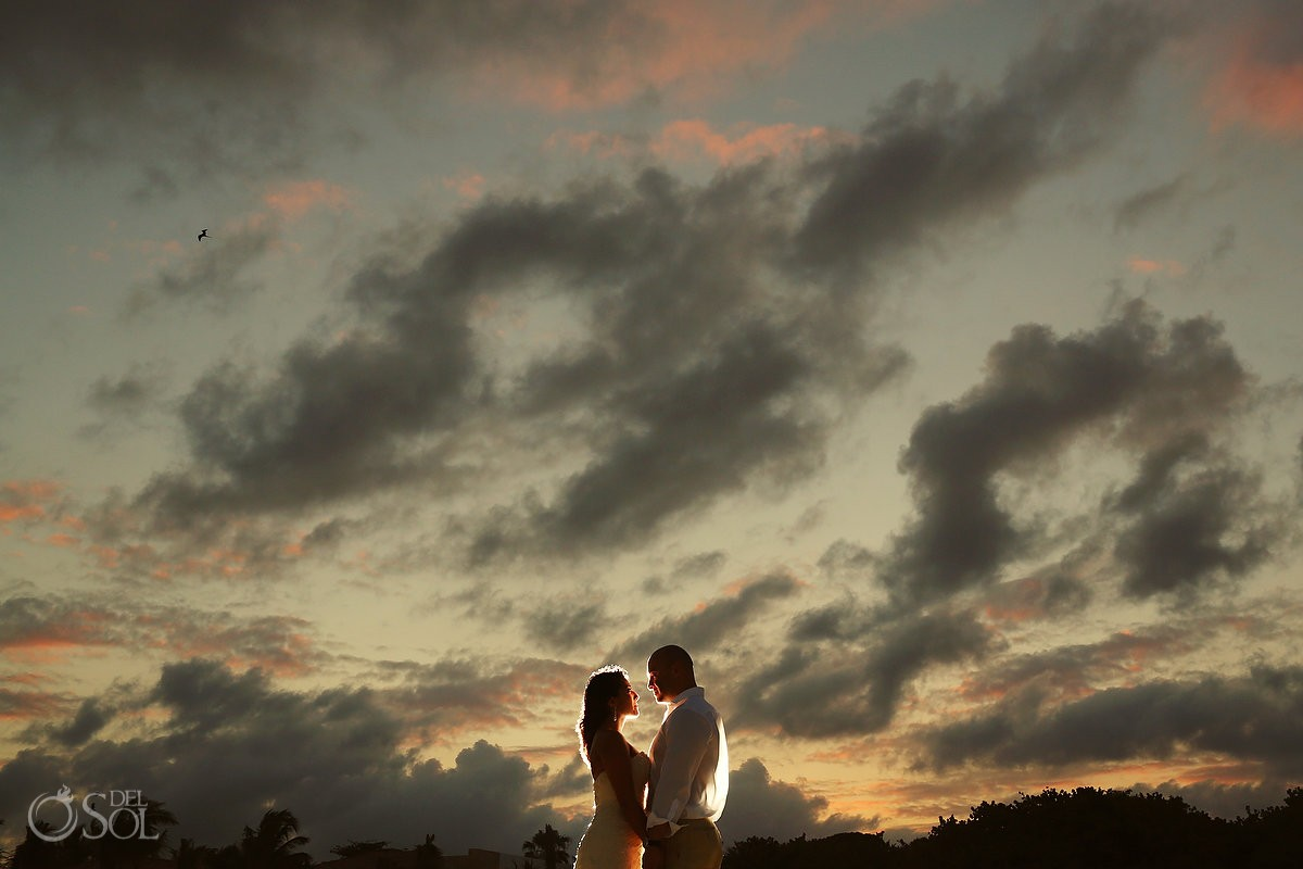 Playa del Carmen sunset bride and groom
