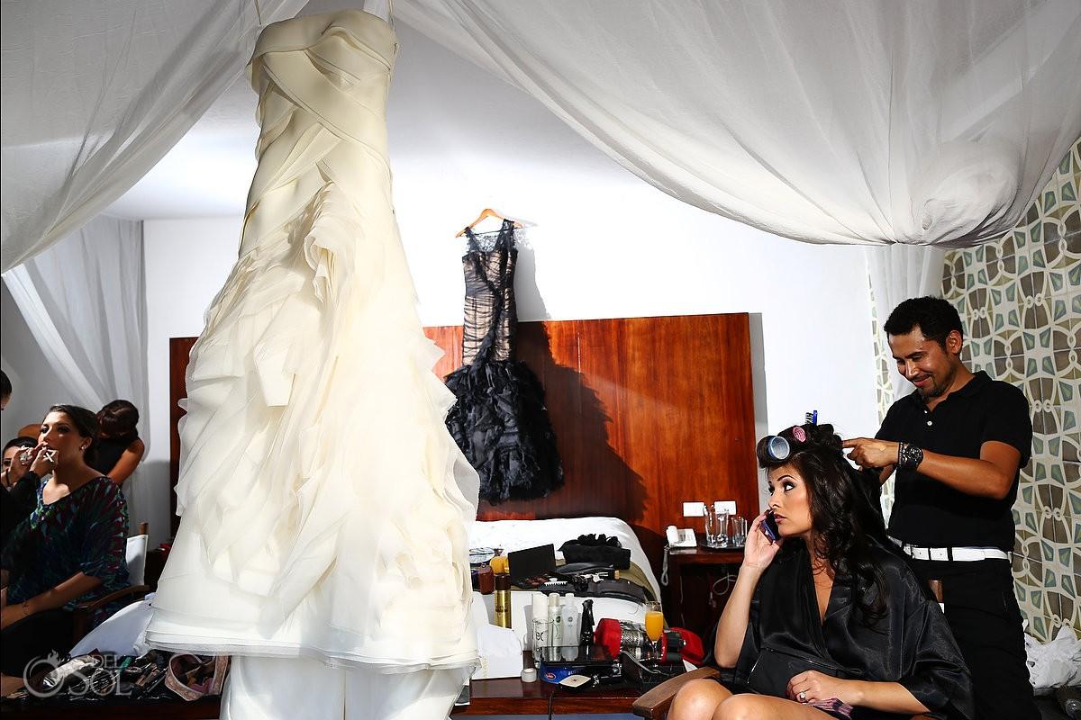 Vera Wang bridal gowns bride hair