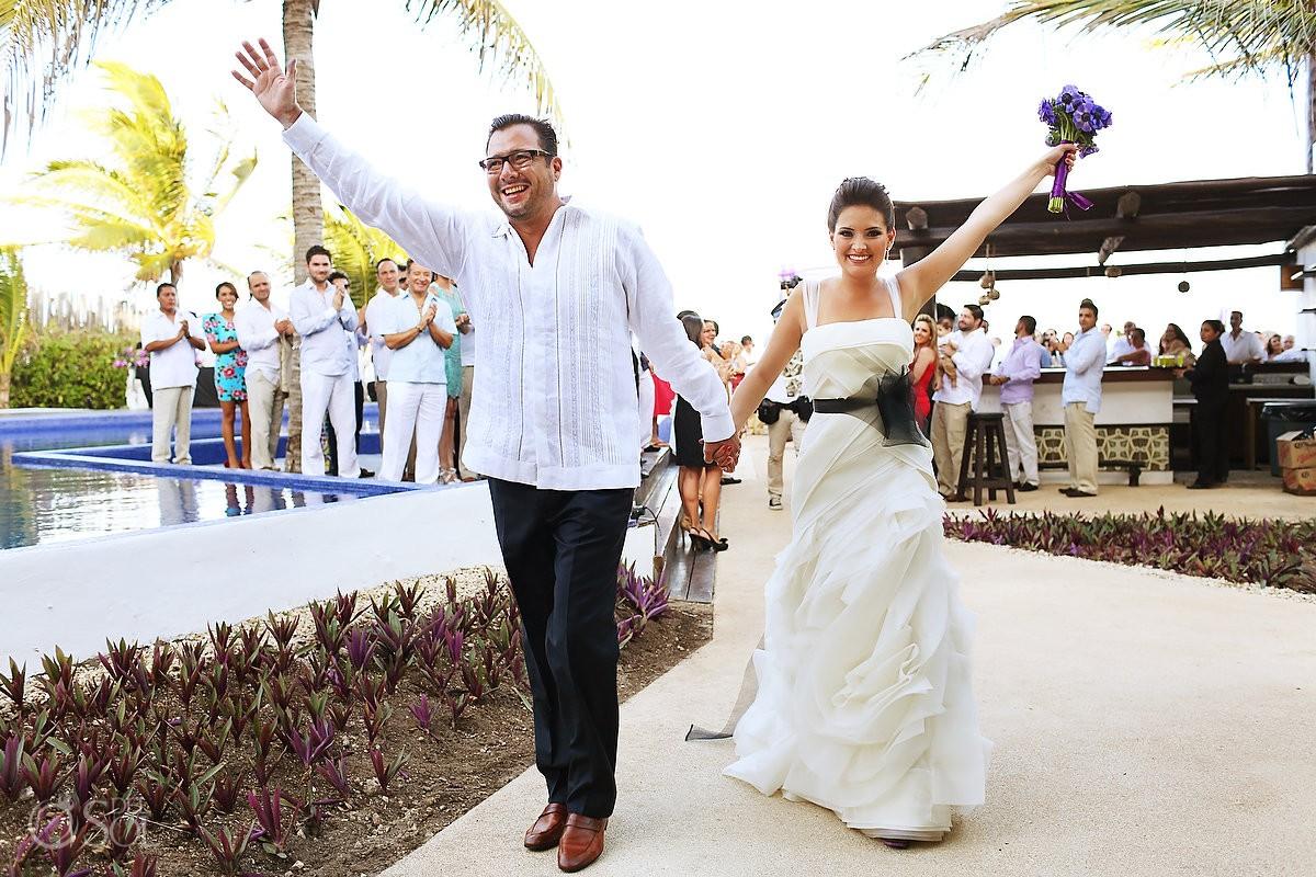 Vera Wang bride at a beach wedding in Mexico