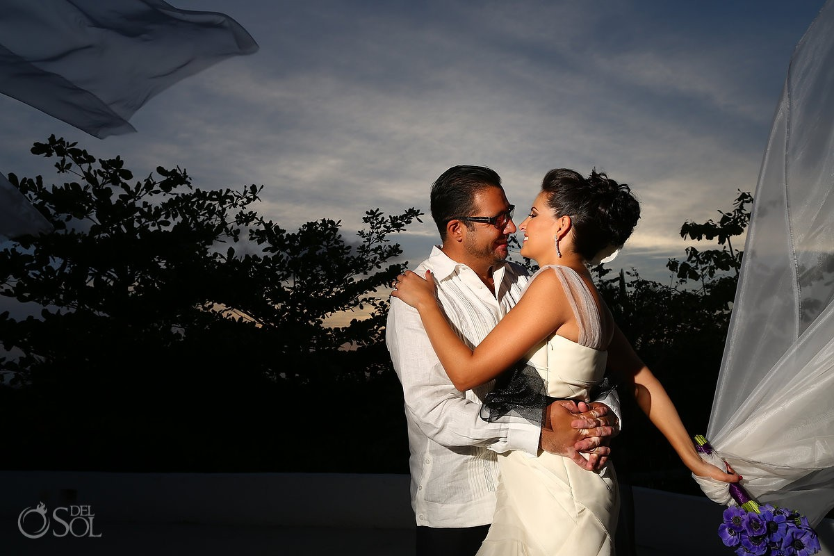 Mexico beach wedding newlyweds