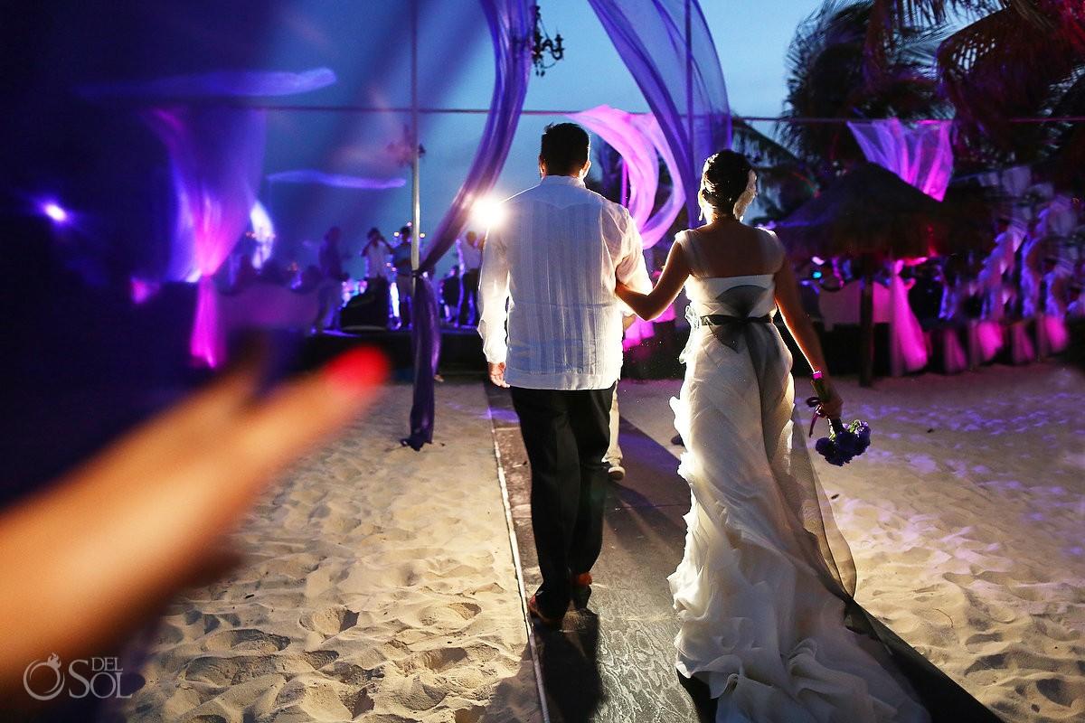 Riviera Maya beach wedding reception bride and groom
