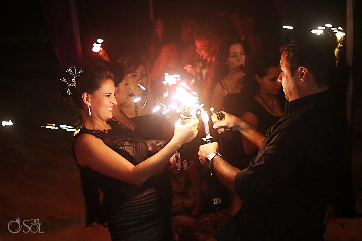 Vera Wang black wedding dress champagne firecrackers