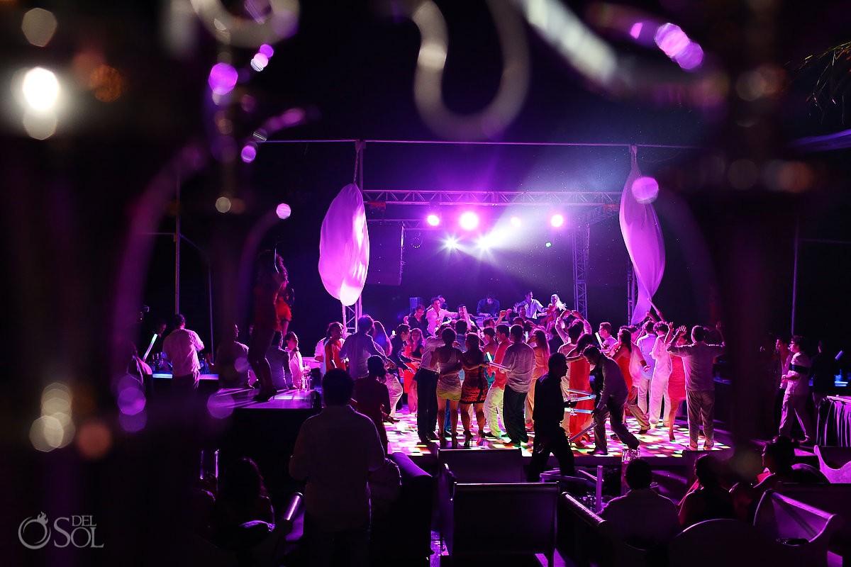 Beach wedding party at Le Reve, Riviera Maya