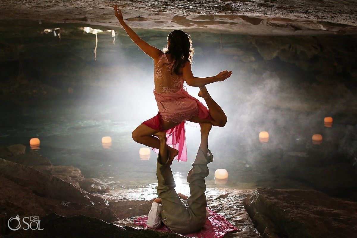 Riviera Maya acro-yoga cenote trash the dress