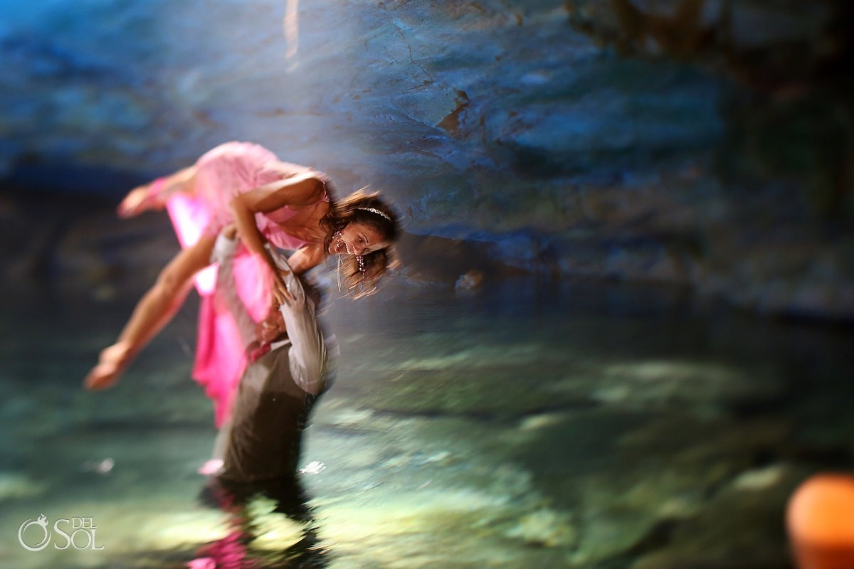 Trash the dress bride and groom cenote cavern acro-yoga cenote trash the dress