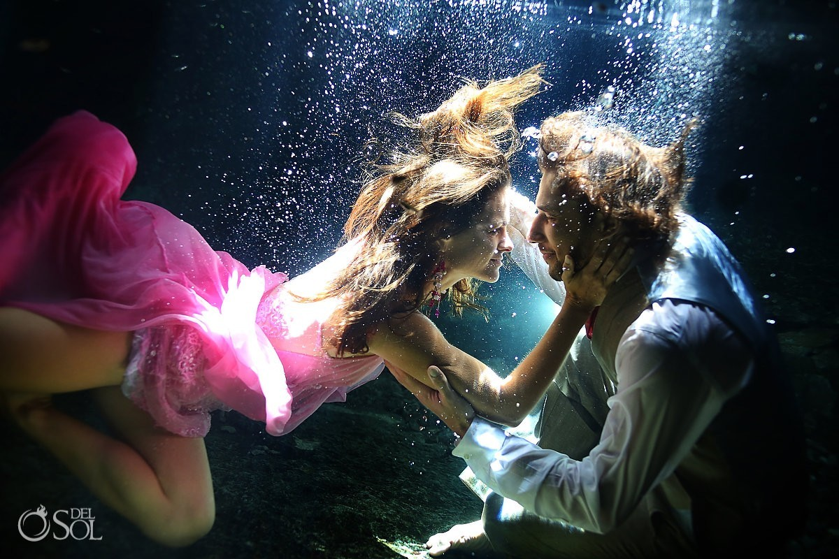Riviera Maya cenote underwater bride and groom trash the dress