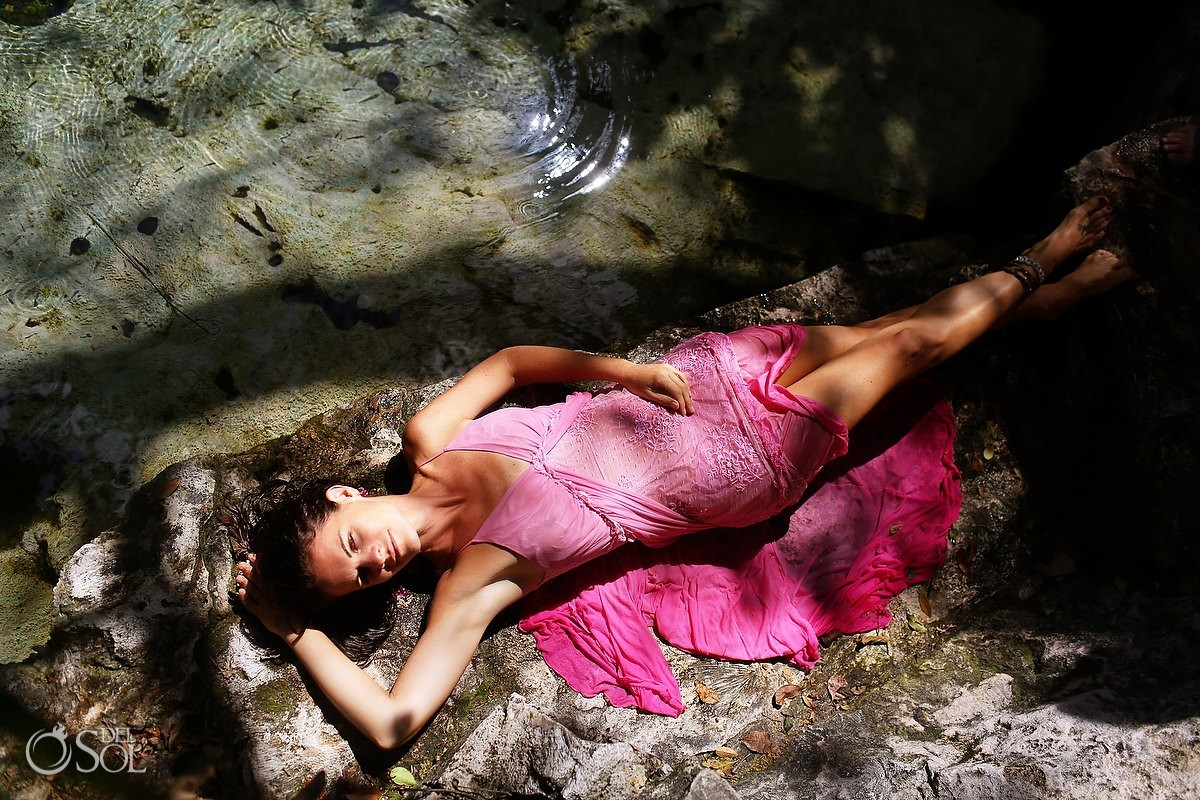 Cenote trash the dress in pink Riviera Maya