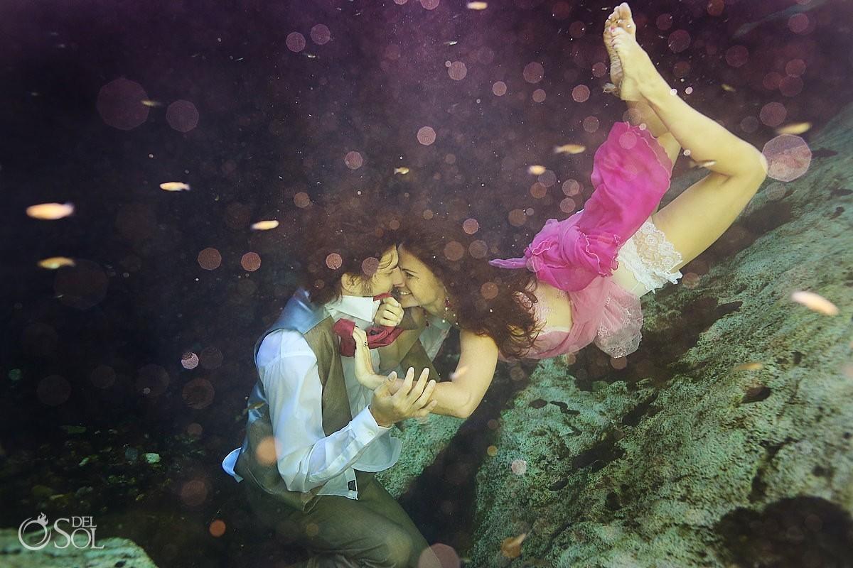 Riviera Maya cenote trash the dress pink bride groom