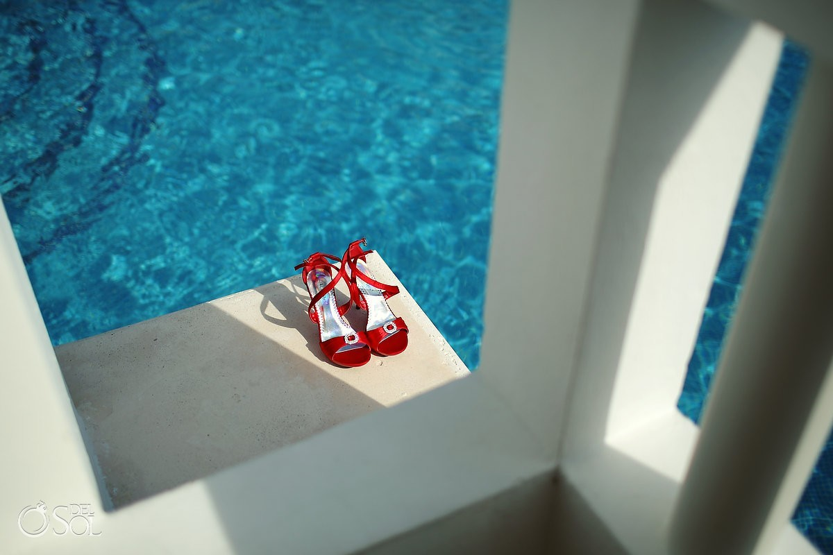 Poolside red wedding shoes