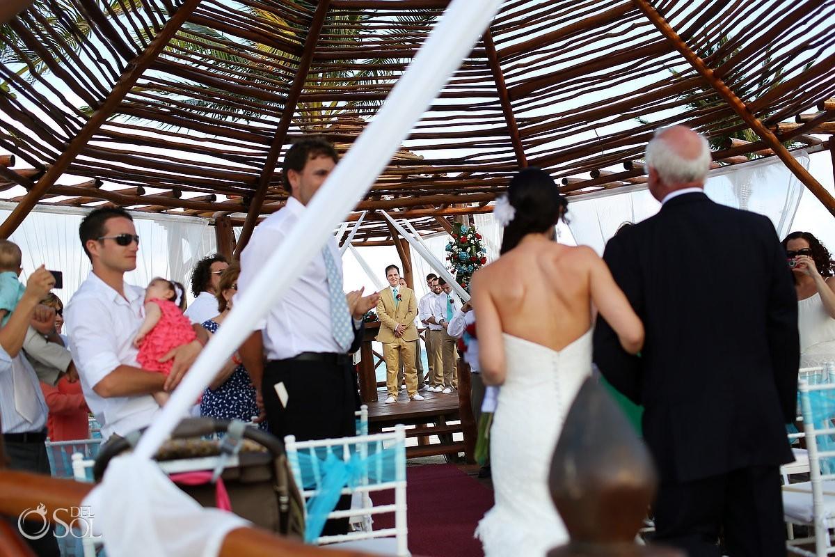 Mexico wedding bride going down aisle gazebo