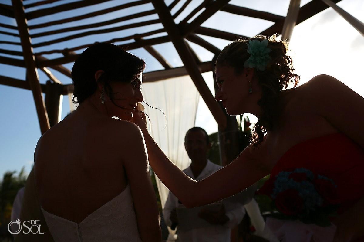 Bridesmaid and bride at a destination wedding riviera maya