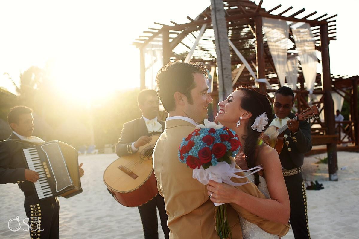Bride and groom Mexico gazebo wedding