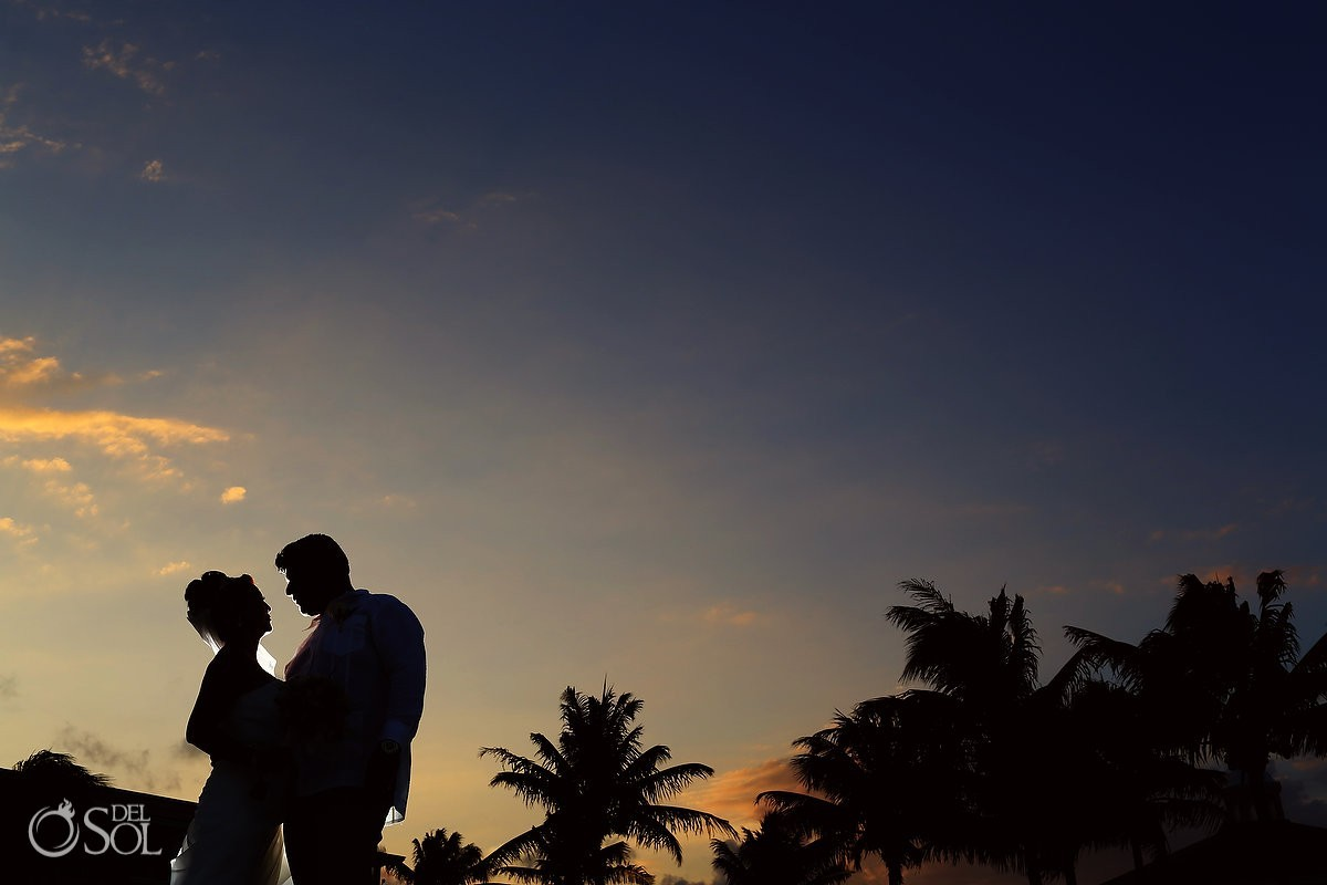 Cancun wedding bride and groom sunset