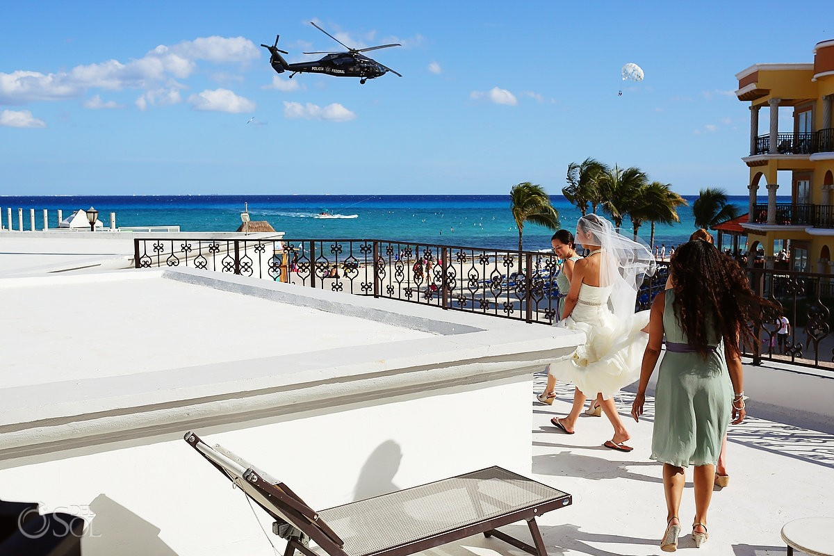 Helicopter at Playa del Carmen wedding