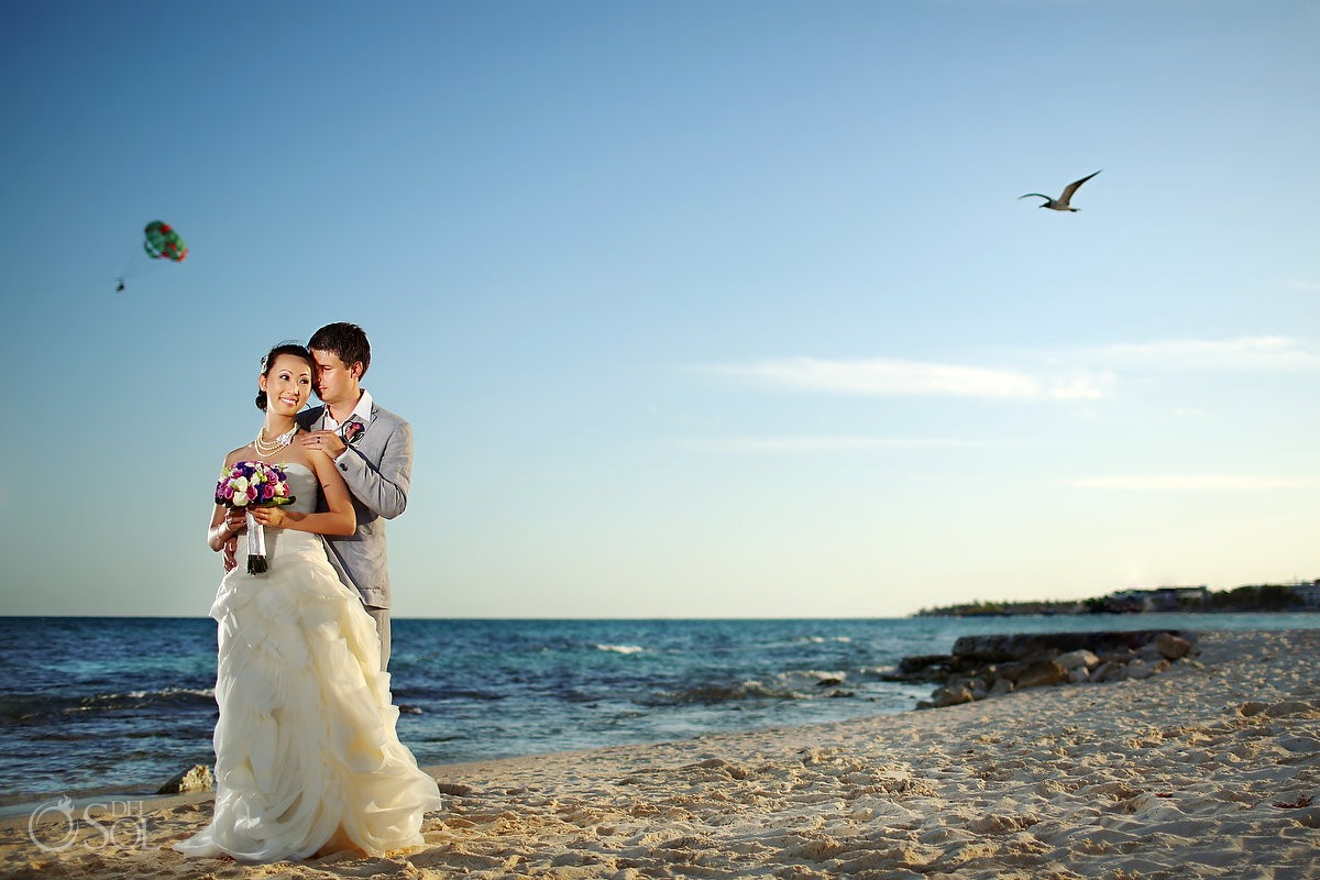 Playa del Carmen bride and groom beach