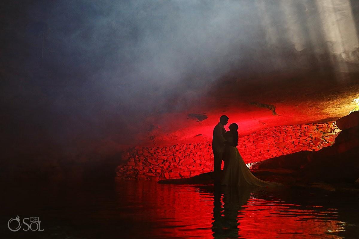 Bride and groom cenote Riviera Maya trash the dress