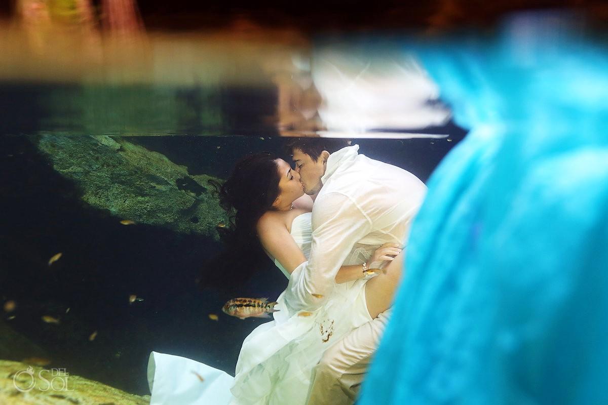 Trash the dress underwater Riviera Maya cenote