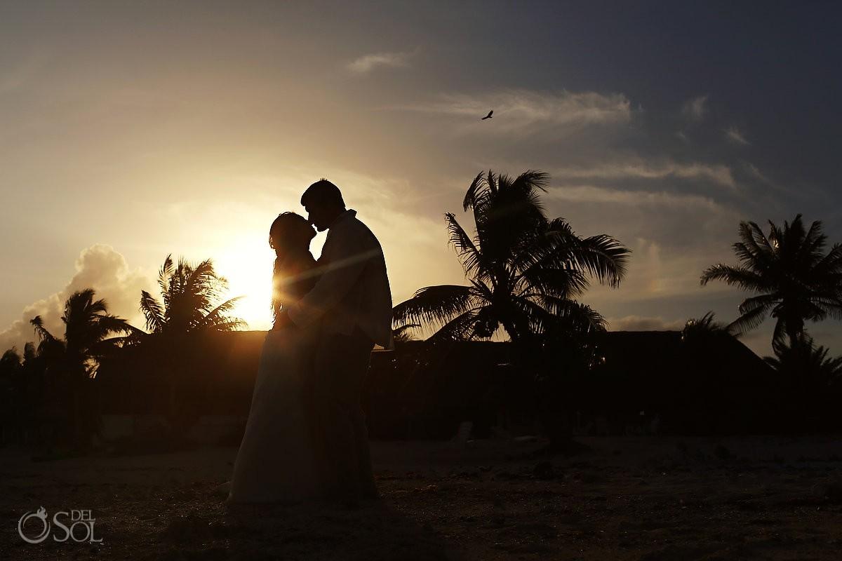 Riviera Maya trash the dress sunset beach newlyweds