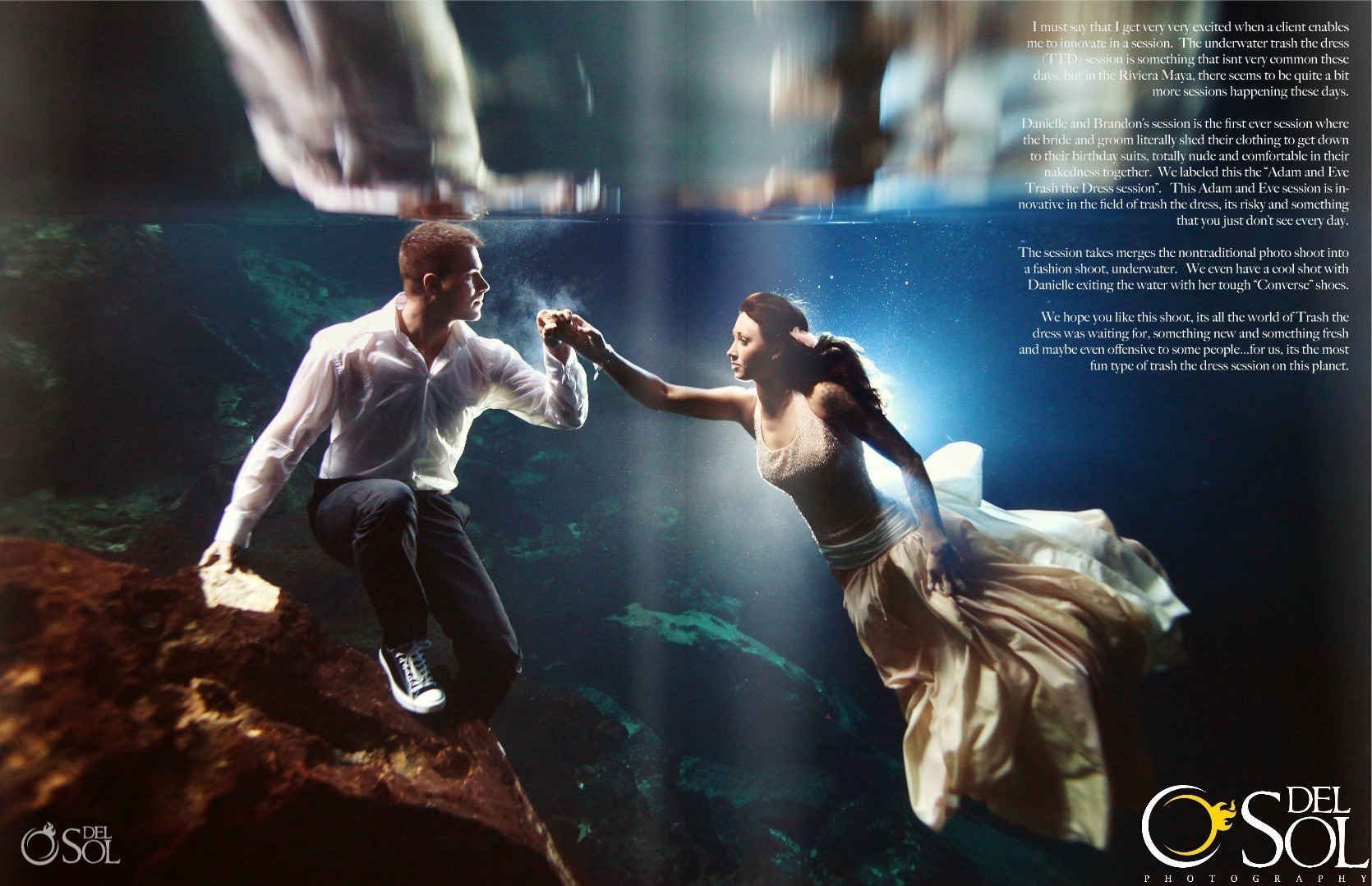 Trash the dress underwater cenote riviera maya