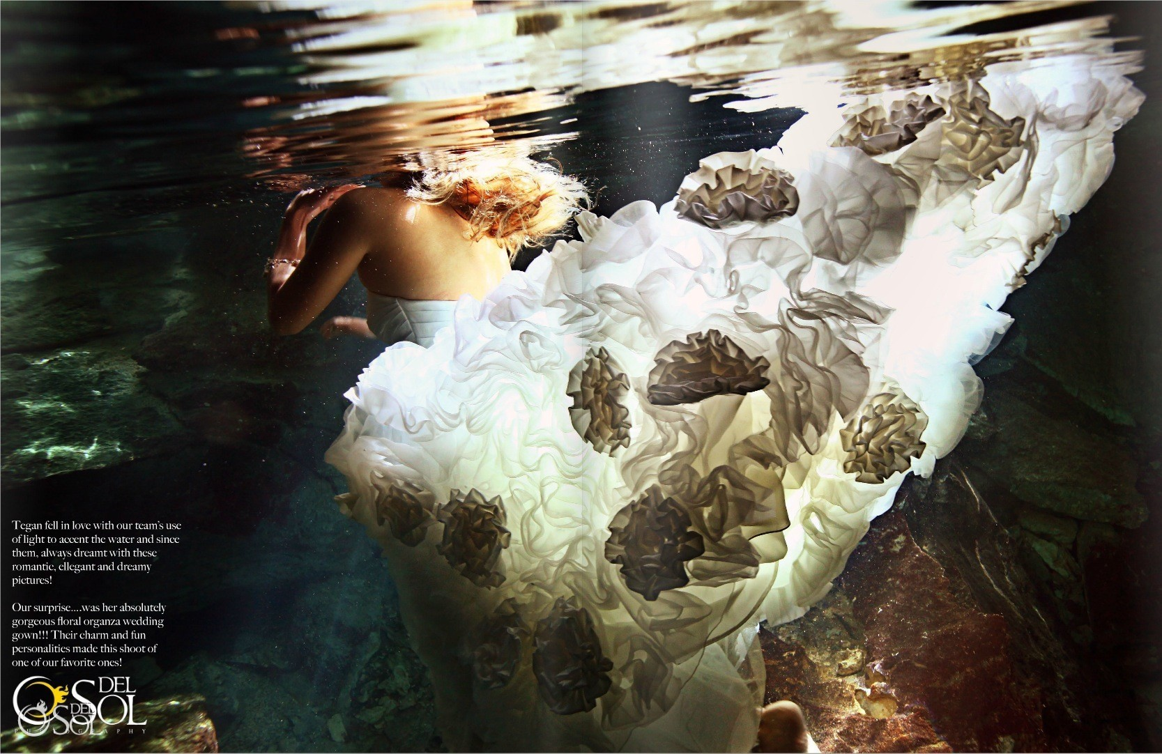 Riviera Maya cenote trash the dress underwater