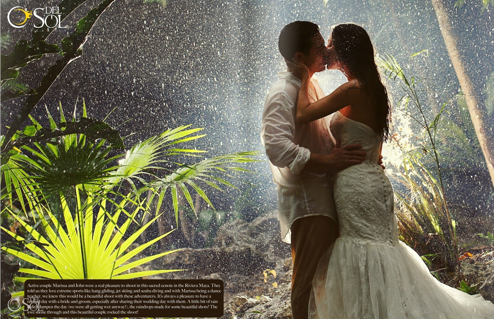 Kiss in jungle bride and groom rain